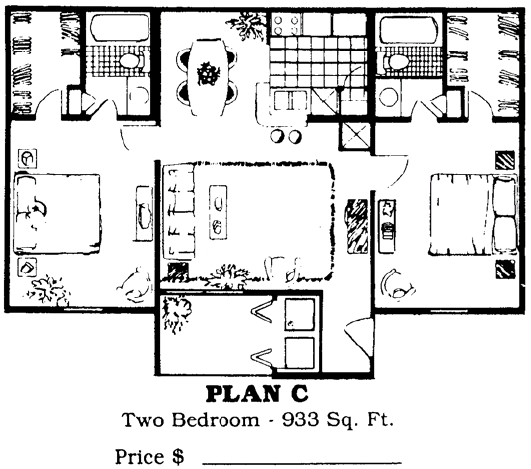 933 sq. ft. C floor plan