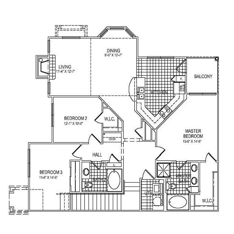 1,477 sq. ft. C3 floor plan