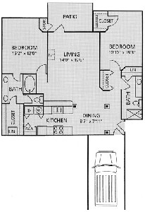 1,177 sq. ft. B1-Berkshire w/ garage floor plan