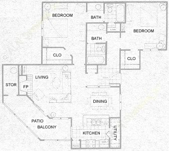 1,000 sq. ft. B3 floor plan
