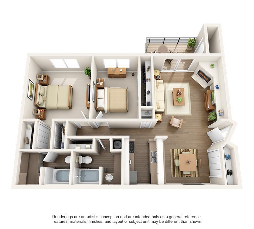 1,020 sq. ft. 2A floor plan