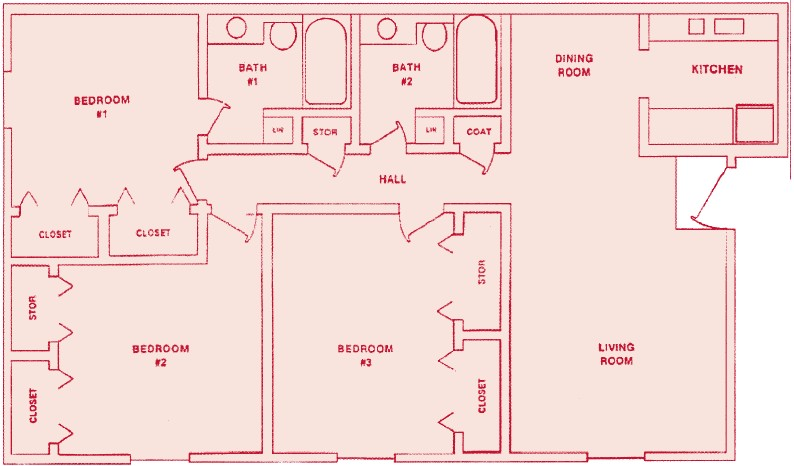 1,020 sq. ft. C-1 floor plan