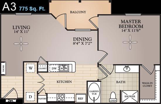 775 sq. ft. Rousseau floor plan