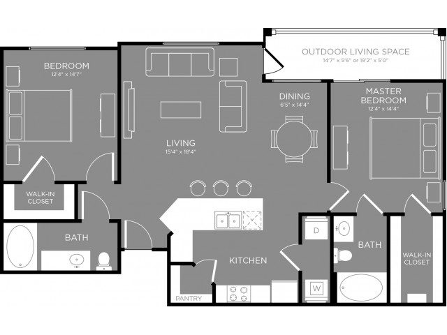 1,170 sq. ft. Metro floor plan