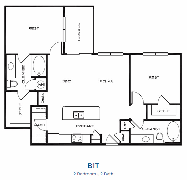 1,161 sq. ft. B1t floor plan