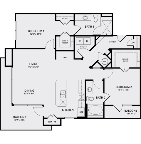 1,248 sq. ft. B1.1 floor plan