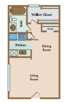 481 sq. ft. Placido floor plan