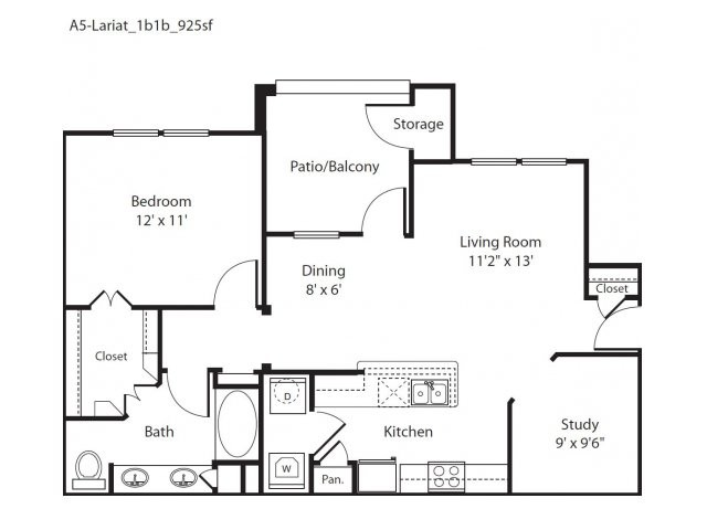 925 sq. ft. Lariat floor plan