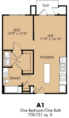 700 sq. ft. A1x floor plan