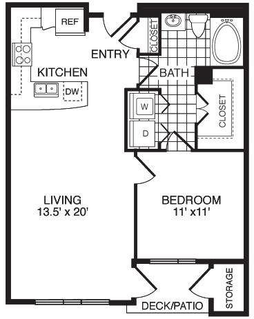 761 sq. ft. Humble/Flats floor plan
