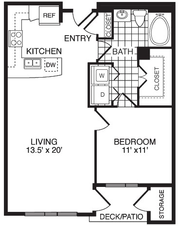 761 sq. ft. F1B floor plan