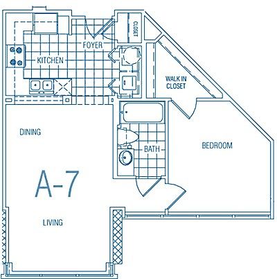 625 sq. ft. A7 MKT floor plan