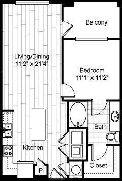 709 sq. ft. A4 floor plan