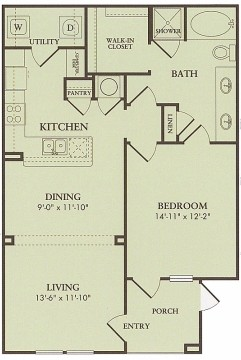972 sq. ft. Pinehurst floor plan