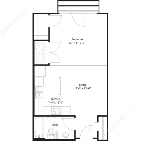 547 sq. ft. Pecos floor plan