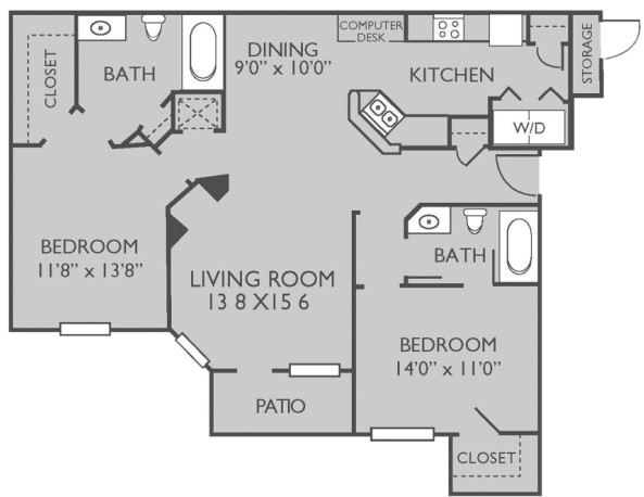 1,095 sq. ft. Mrytle Beach floor plan