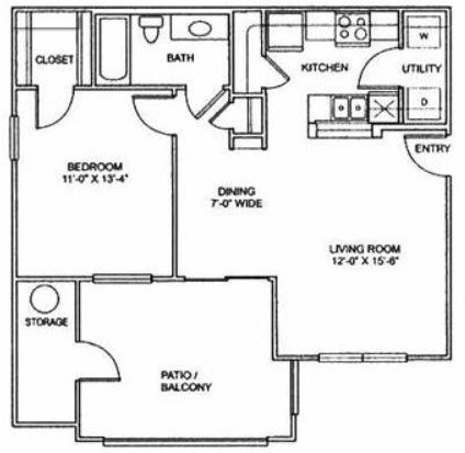 676 sq. ft. A2 floor plan