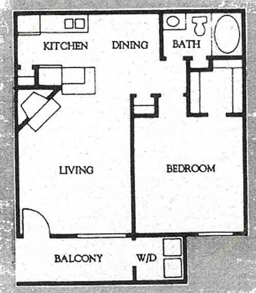 651 sq. ft. A-2 floor plan