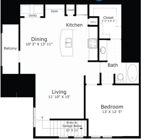 876 sq. ft. Rockport floor plan