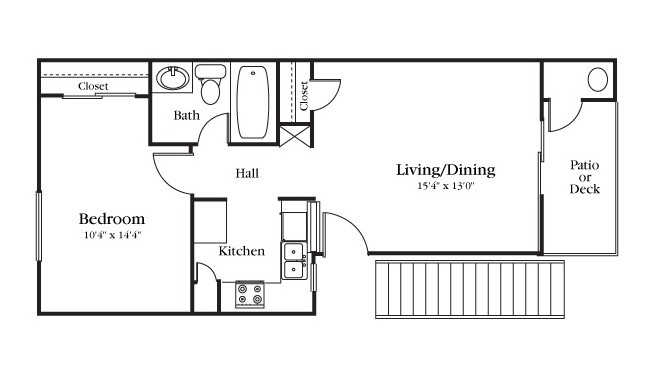 545 sq. ft. A1-110 floor plan