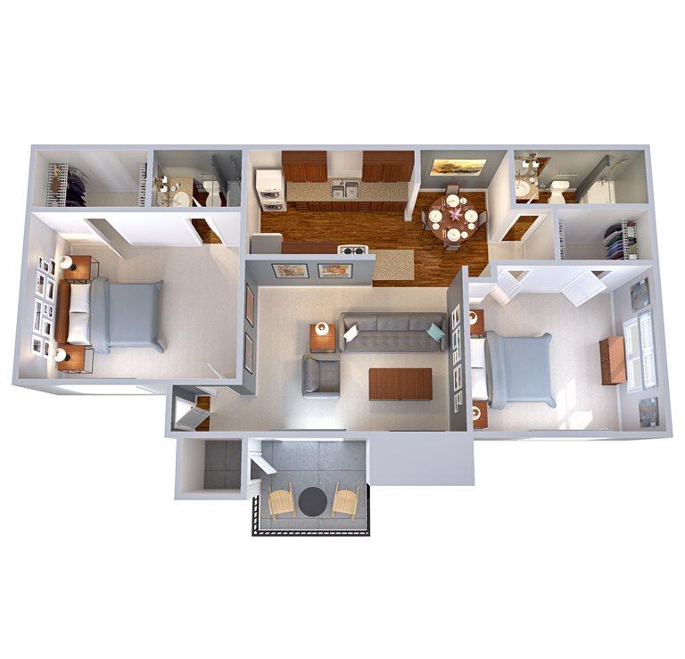 886 sq. ft. B2 floor plan