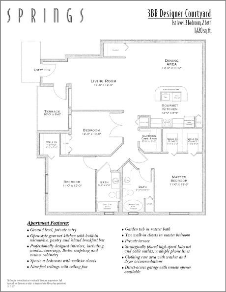 1,420 sq. ft. GAR DESIGNER COURT floor plan