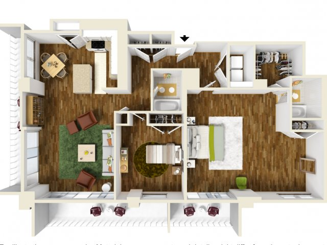 1,455 sq. ft. to 1,463 sq. ft. Penthouse floor plan