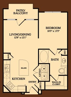 674 sq. ft. Statesman floor plan