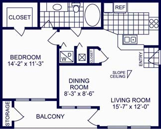 722 sq. ft. A floor plan