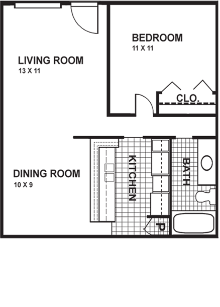 550 sq. ft. AS floor plan