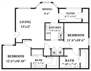 898 sq. ft. B floor plan