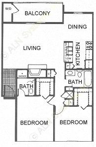 970 sq. ft. E/Mansion floor plan