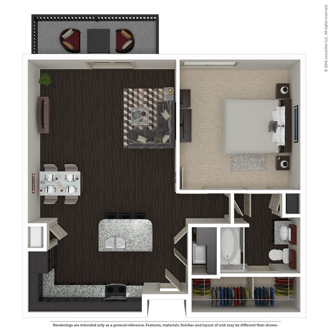 960 sq. ft. A6 floor plan
