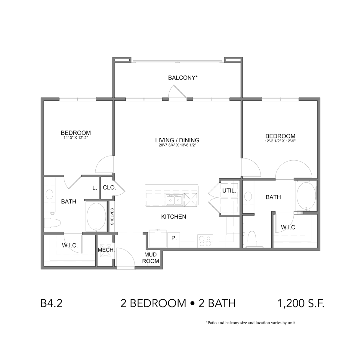 1,200 sq. ft. B4.1 floor plan