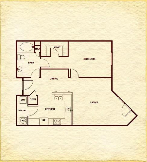 831 sq. ft. A4B floor plan