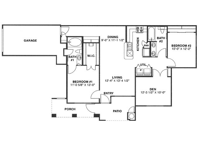 1,157 sq. ft. G/60% floor plan