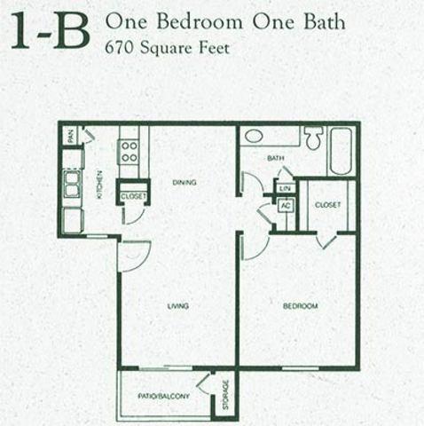 670 sq. ft. 1B floor plan