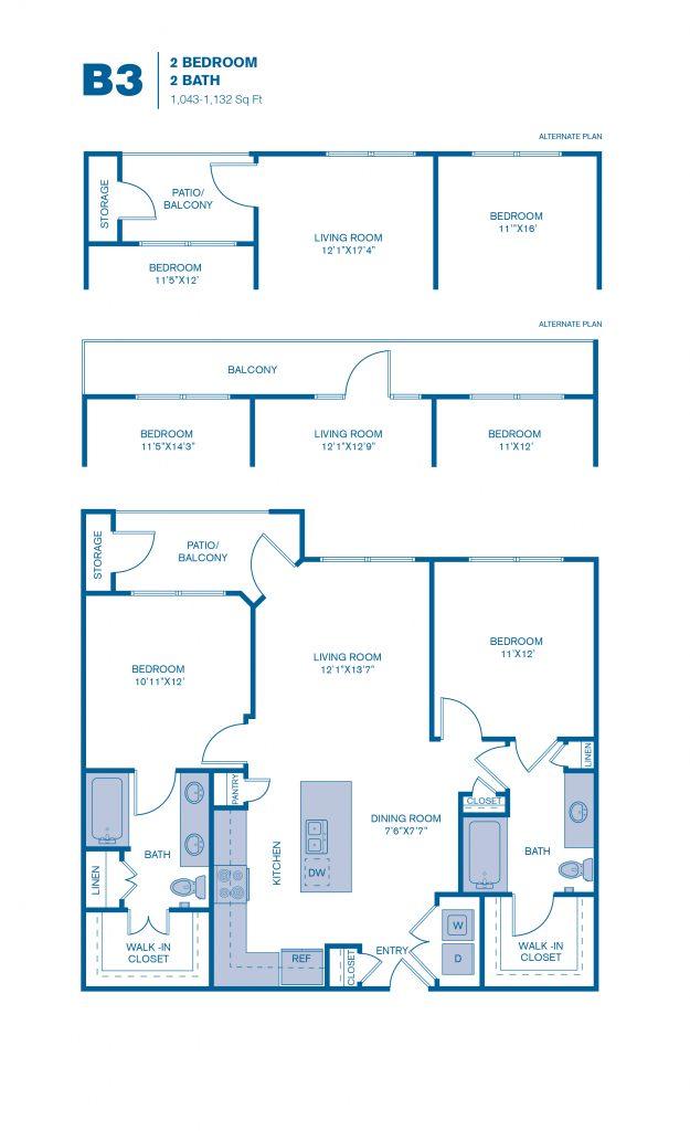 1,043 sq. ft. B3 floor plan
