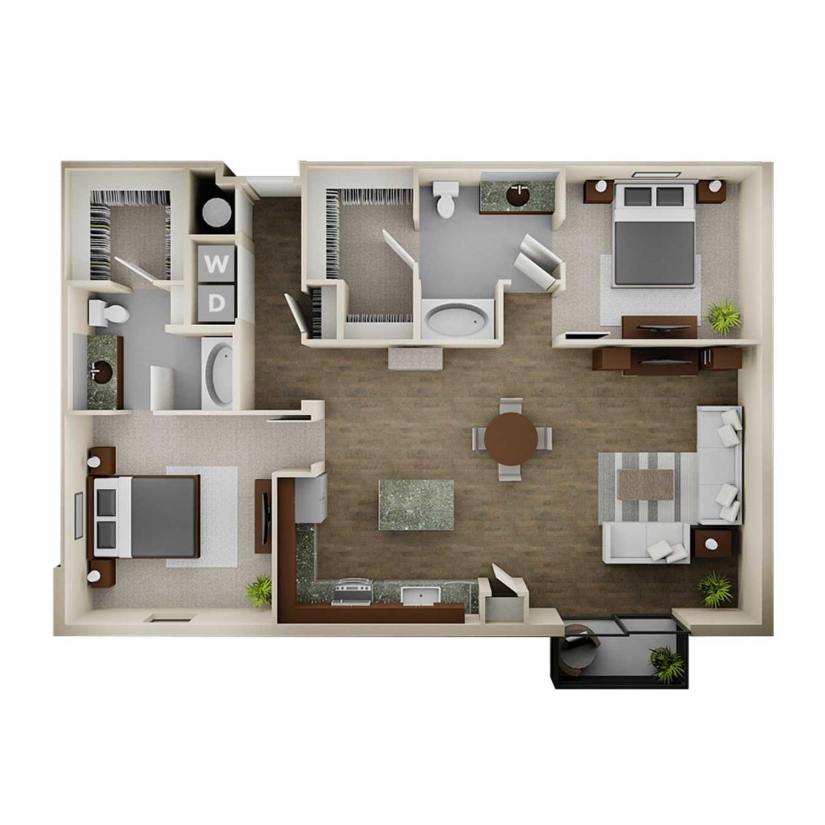 1,370 sq. ft. 2C floor plan