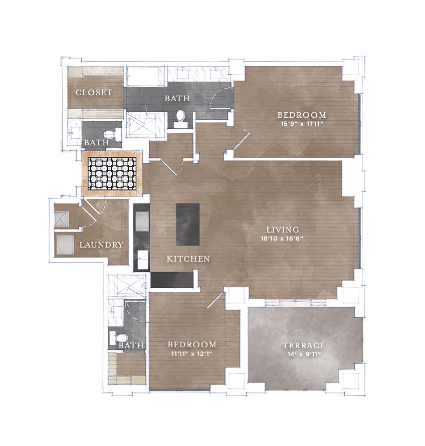 1,386 sq. ft. B2 floor plan