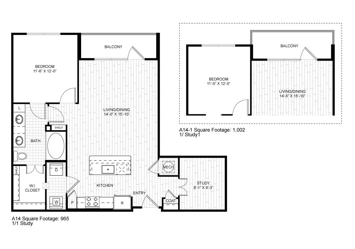 904 sq. ft. A14 floor plan