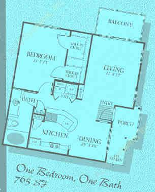 765 sq. ft. A2 floor plan