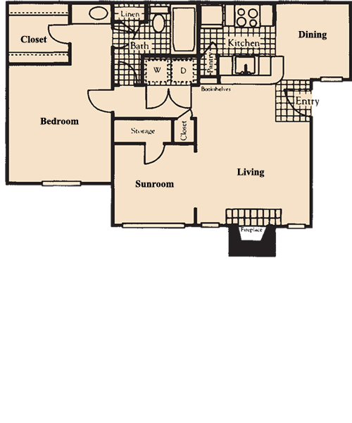 813 sq. ft. A3 floor plan