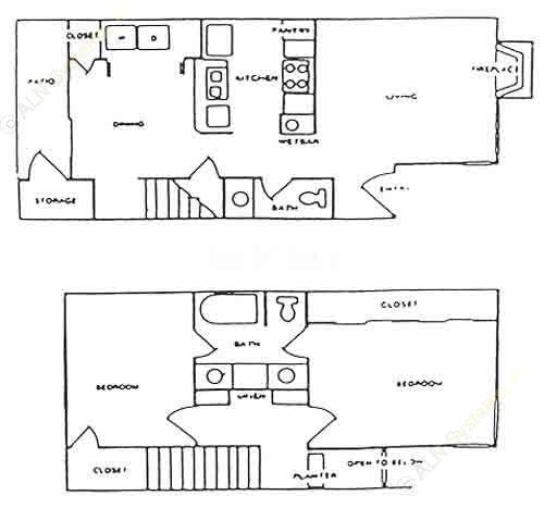 919 sq. ft. E floor plan