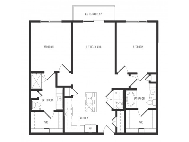 1,152 sq. ft. B1.1 floor plan