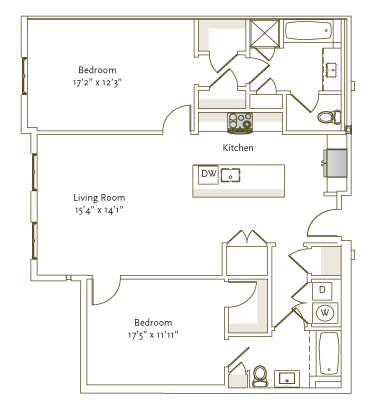 1,208 sq. ft. B1-4 floor plan