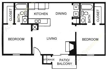 874 sq. ft. B2 floor plan