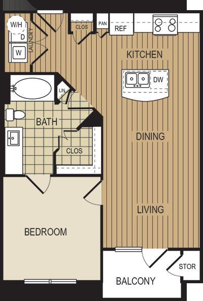 671 sq. ft. A3d floor plan