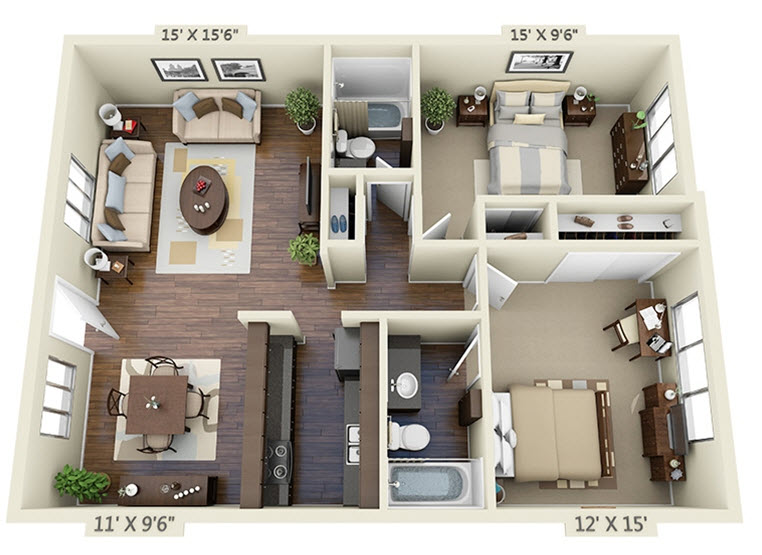 1,099 sq. ft. B-2 floor plan