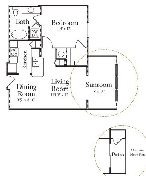 768 sq. ft. A1 floor plan